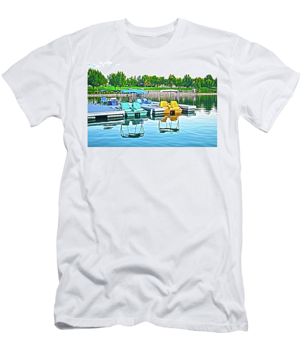 Pedal Boats Men's T-Shirt (Athletic Fit) featuring the photograph Pedal Boats by Christine Owens