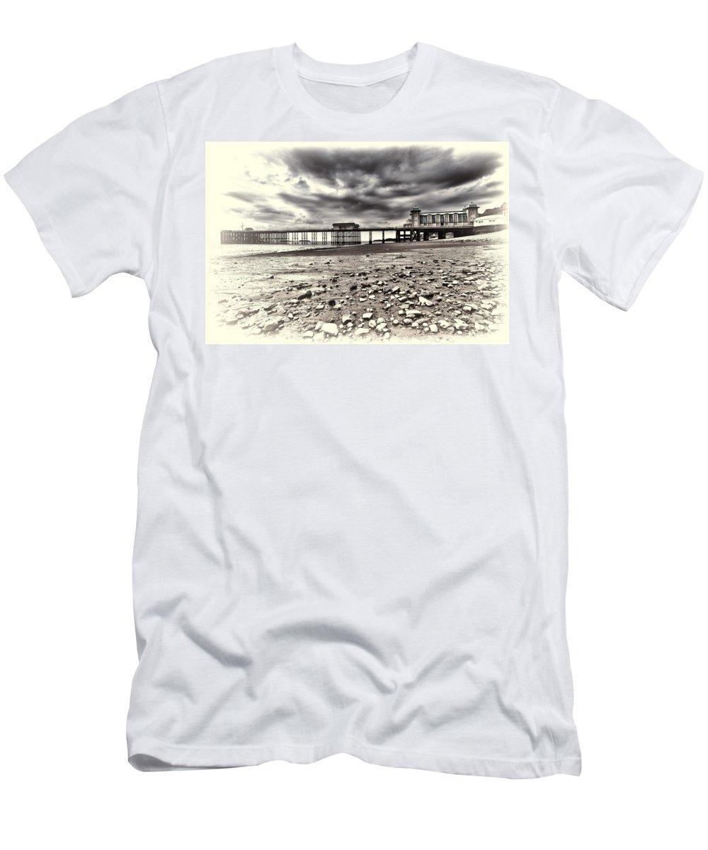 Penarth Pier Men's T-Shirt (Athletic Fit) featuring the photograph Penarth Pier Cream by Steve Purnell