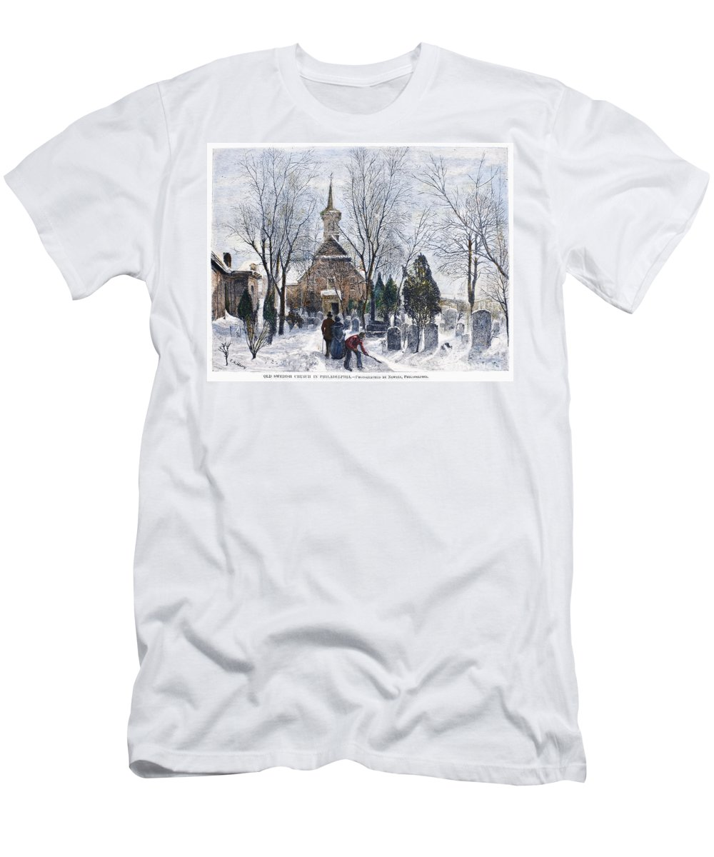 1873 Men's T-Shirt (Athletic Fit) featuring the photograph Philadelphia: Winter, 1873 by Granger
