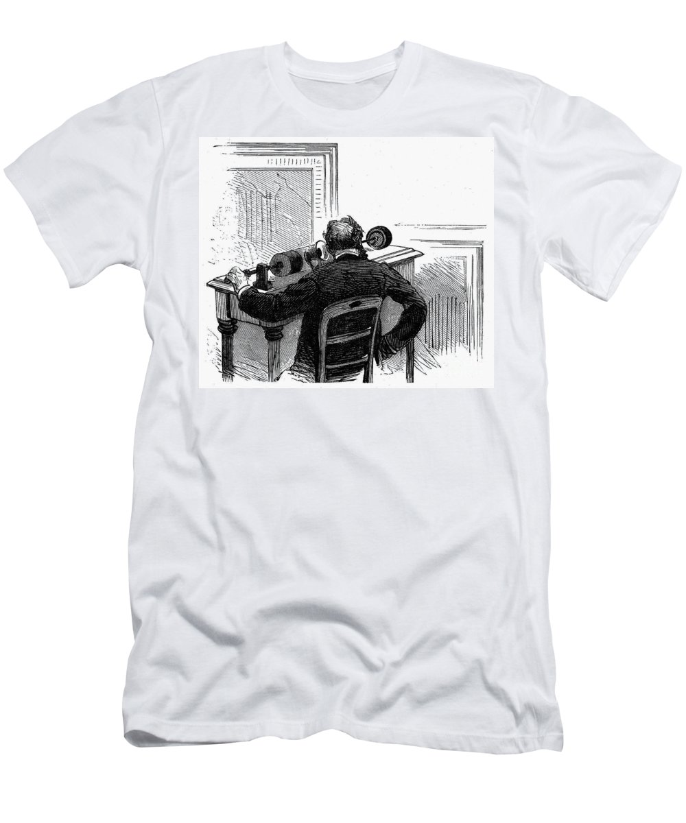 1878 Men's T-Shirt (Athletic Fit) featuring the photograph Phonograph, C1878 by Granger