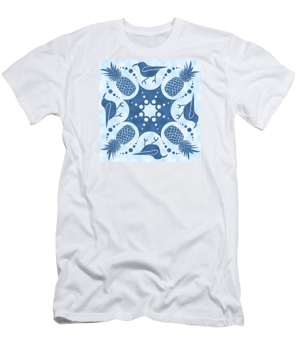 Hawaiian Quilt Men's T-Shirt (Athletic Fit) featuring the digital art Pineapple And IIwi Hawaiian Quilt Block by Alison Stein