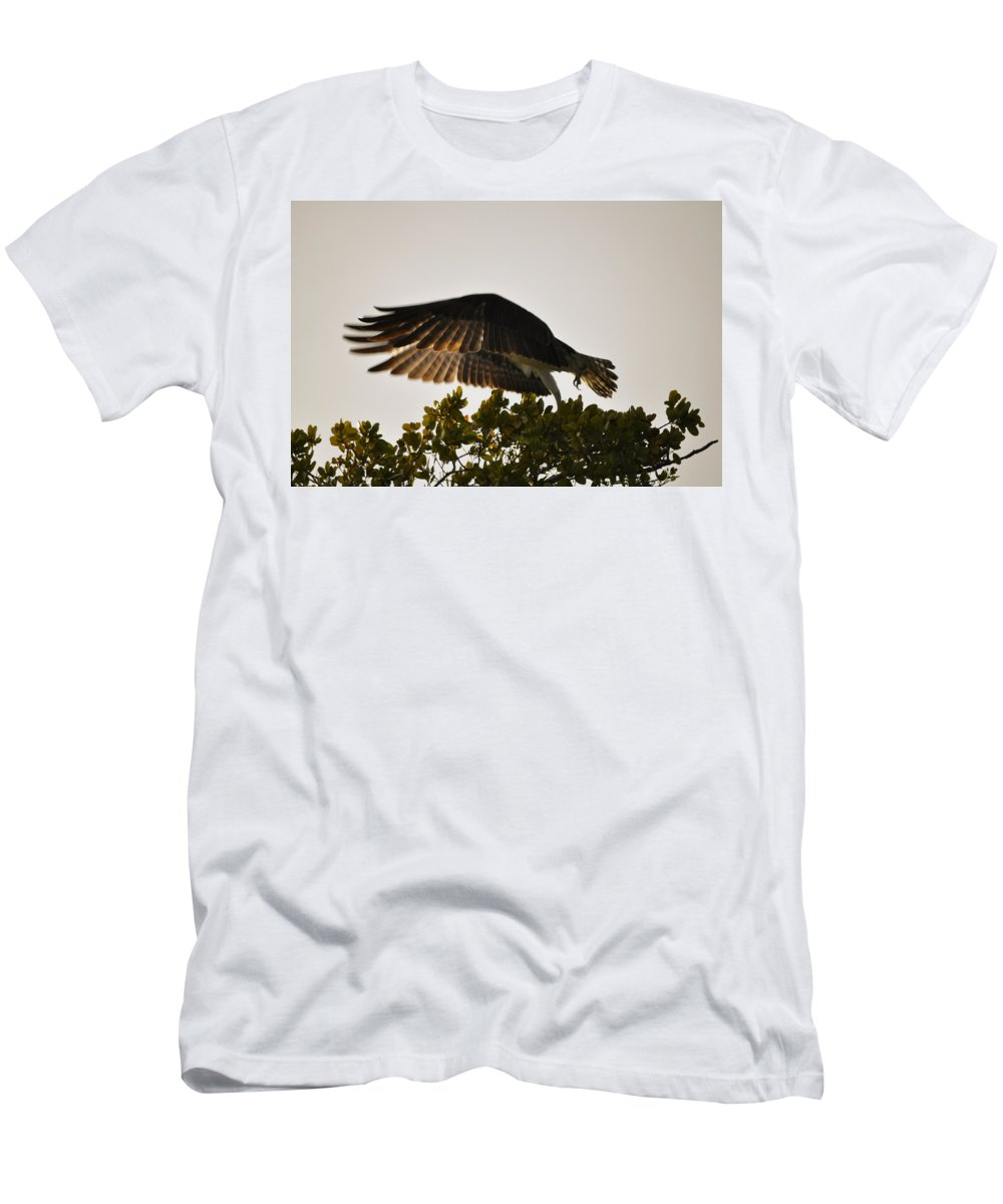 Osprey Taking Flight T-Shirt featuring the photograph Poetry in Motion by Christine Stonebridge