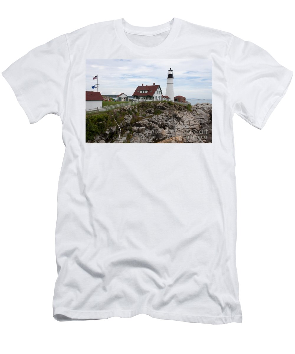 Cape Elizabeth Men's T-Shirt (Athletic Fit) featuring the photograph Portland Head Light Cape Elizabeth Fort Williams Maine by Thomas Marchessault