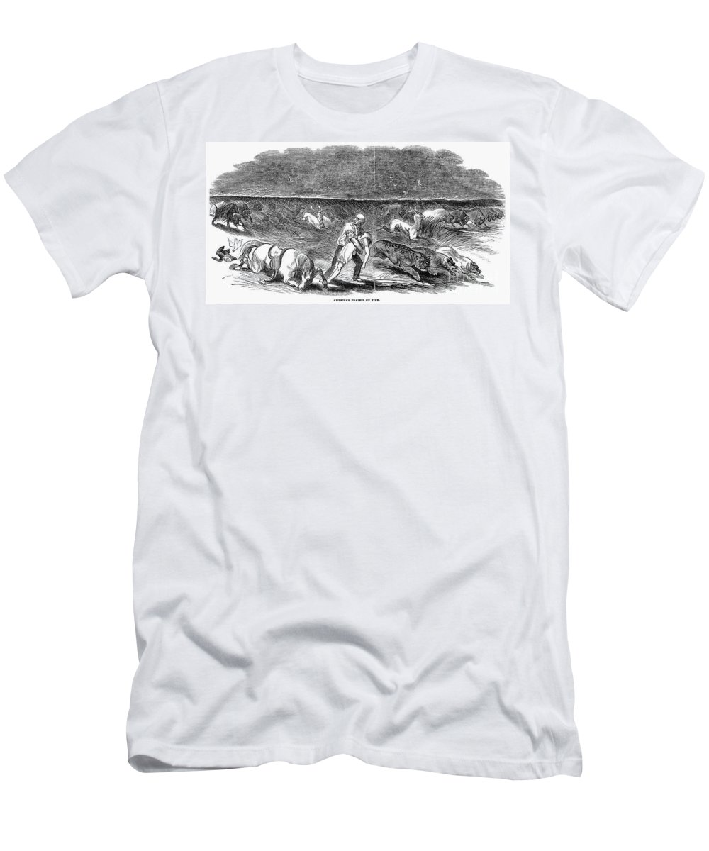 1844 Men's T-Shirt (Athletic Fit) featuring the photograph Prairie Fire, 1844 by Granger