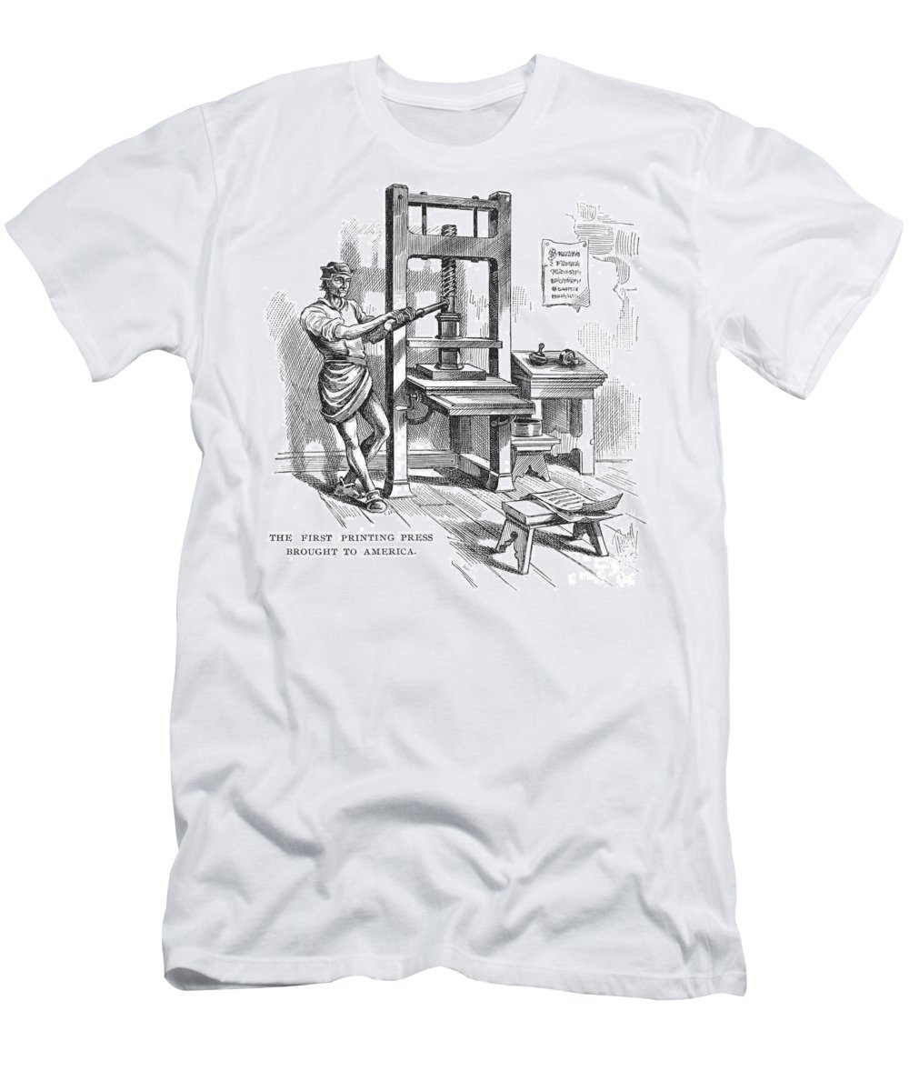 1639 Men's T-Shirt (Athletic Fit) featuring the photograph Printing Press, 1639 by Granger