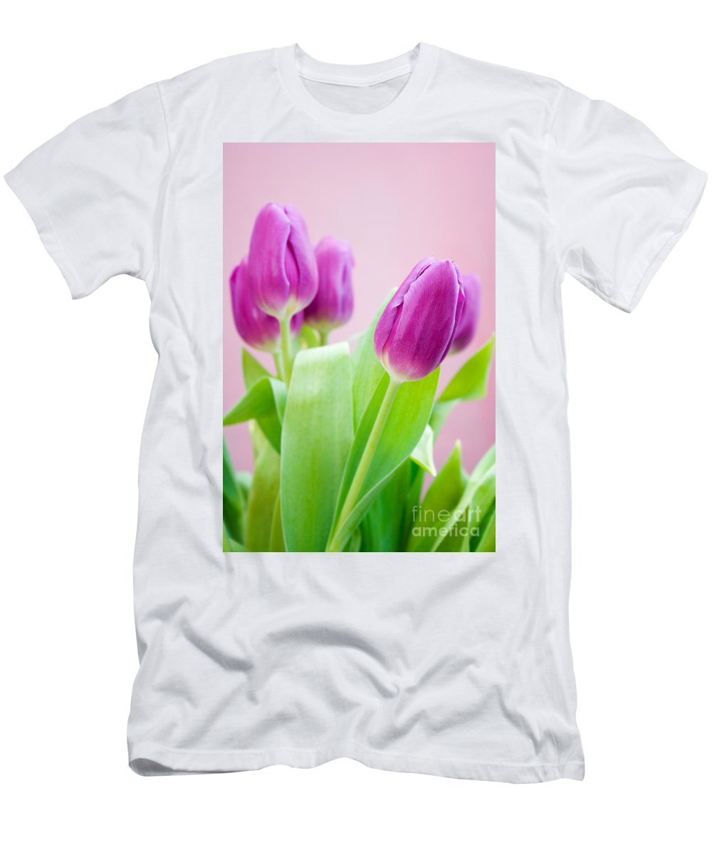 Tulip Men's T-Shirt (Athletic Fit) featuring the photograph Purple Tulips by Kati Finell