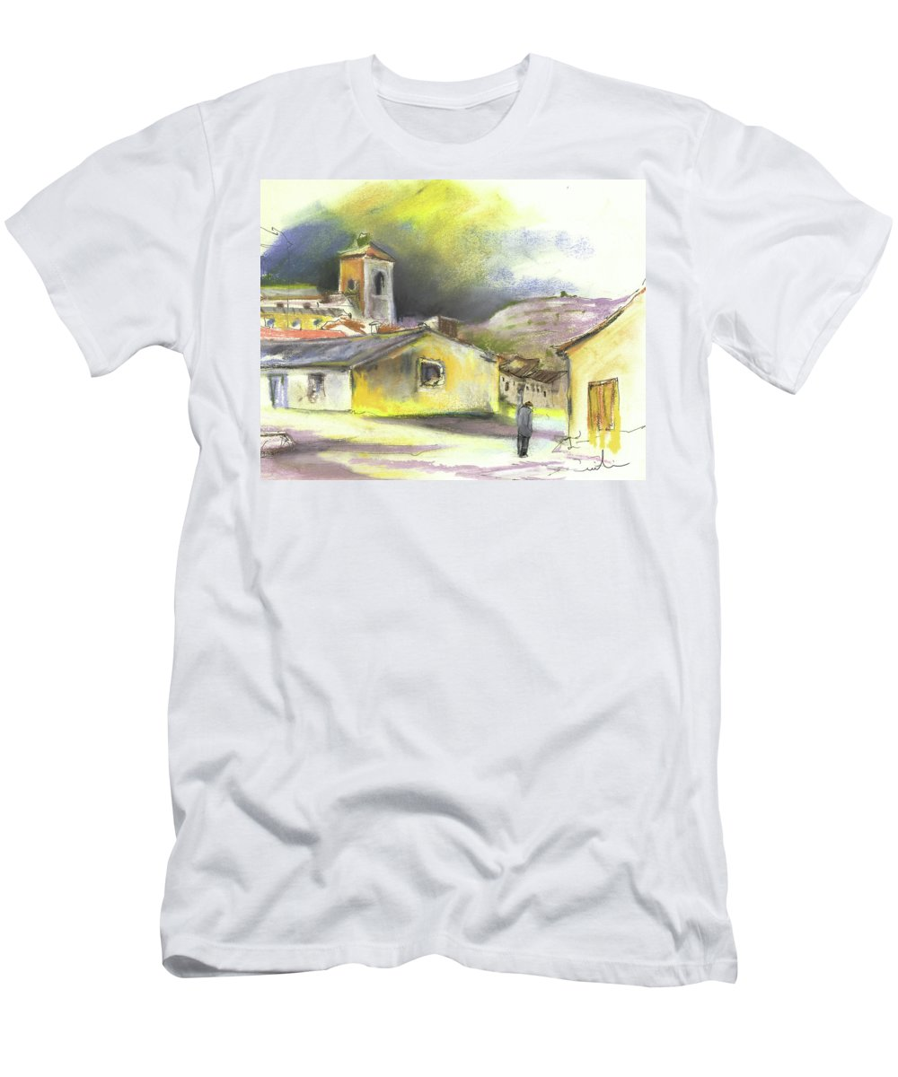 Spain Men's T-Shirt (Athletic Fit) featuring the painting Ribera Del Duero In Spain 05 by Miki De Goodaboom