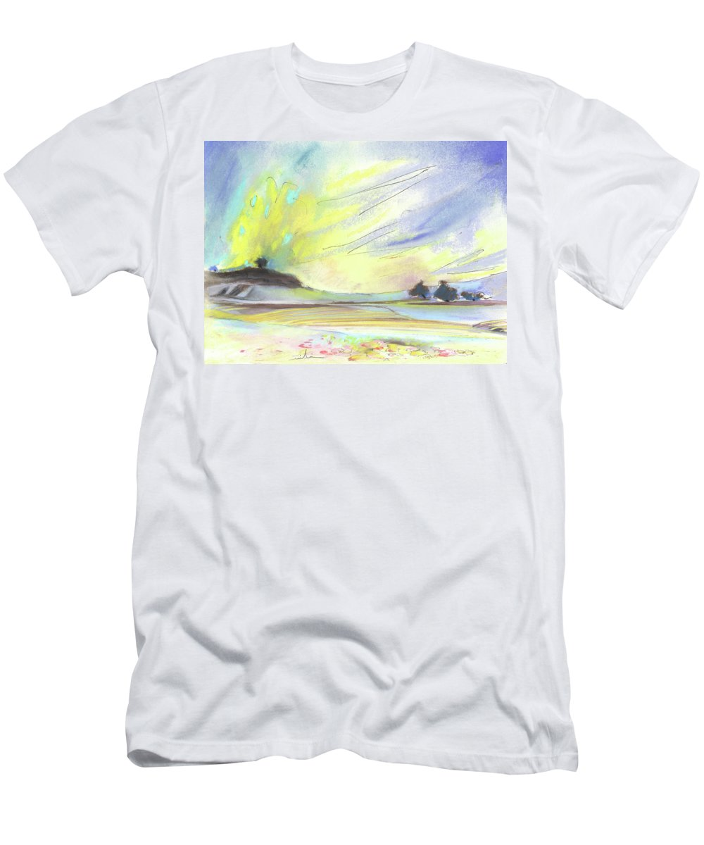 Spain Men's T-Shirt (Athletic Fit) featuring the painting Ribera Del Duero In Spain 07 by Miki De Goodaboom