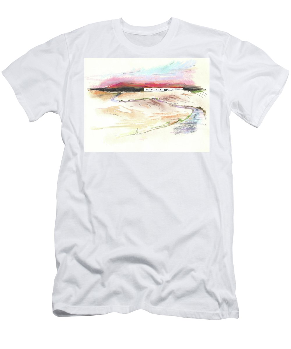 Spain Men's T-Shirt (Athletic Fit) featuring the painting Ribera Del Duero In Spain 09 by Miki De Goodaboom