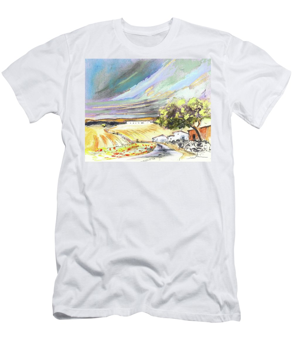 Spain Men's T-Shirt (Athletic Fit) featuring the painting Ribera Del Duero In Spain 13 by Miki De Goodaboom