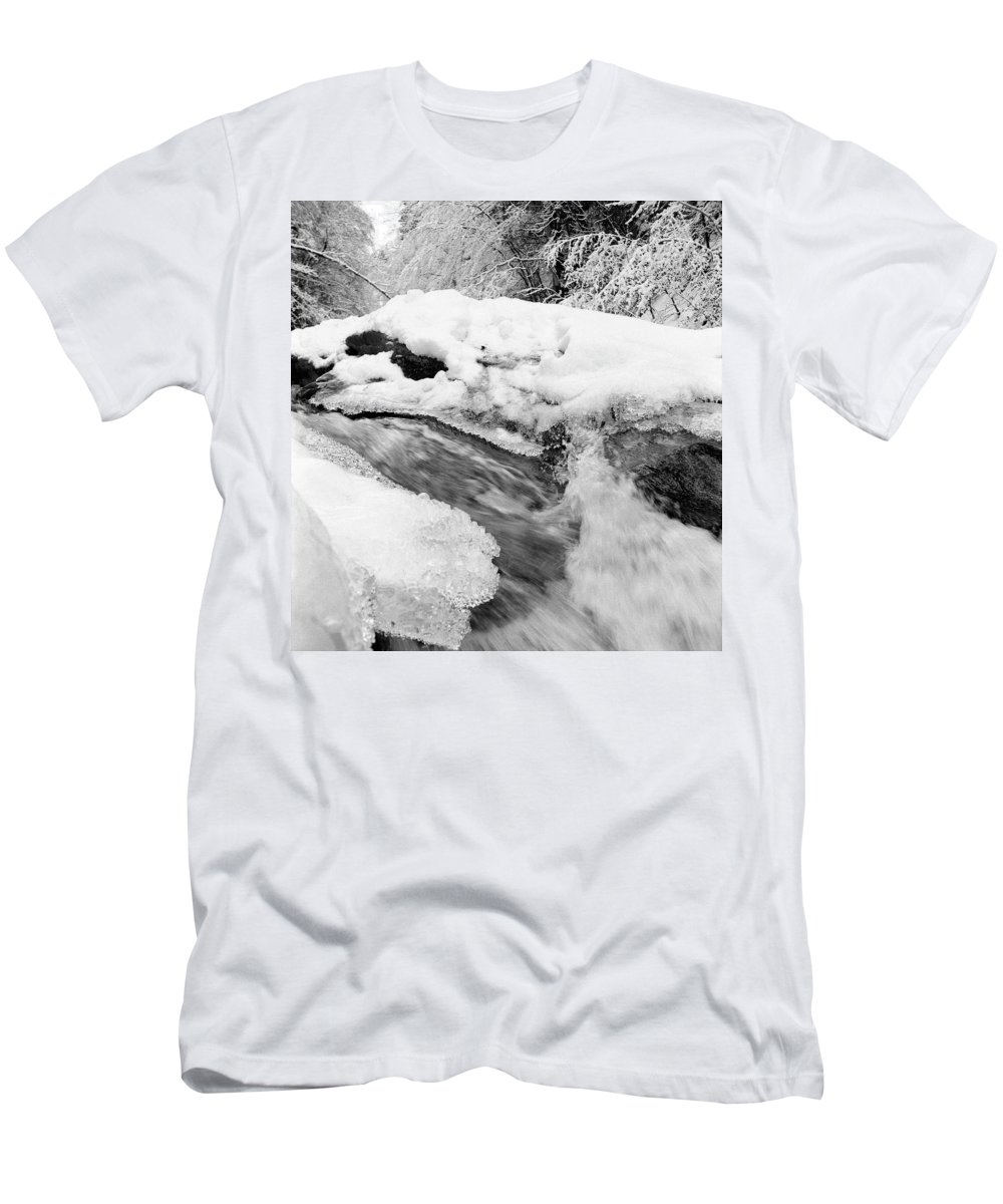 Europe Men's T-Shirt (Athletic Fit) featuring the photograph River And Snow II by Olivier De Rycke