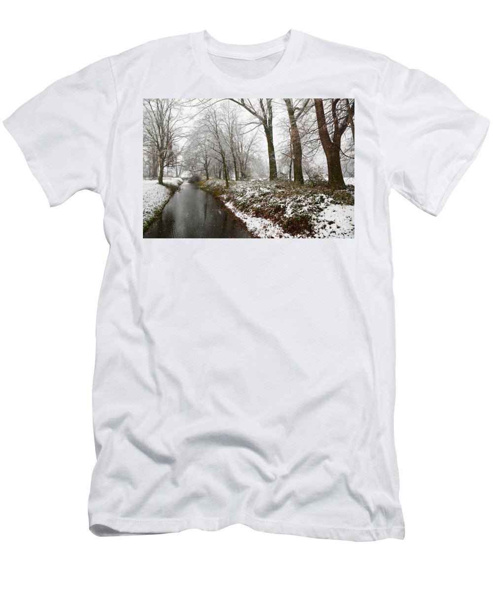 River Men's T-Shirt (Athletic Fit) featuring the photograph River With Snow by Mats Silvan