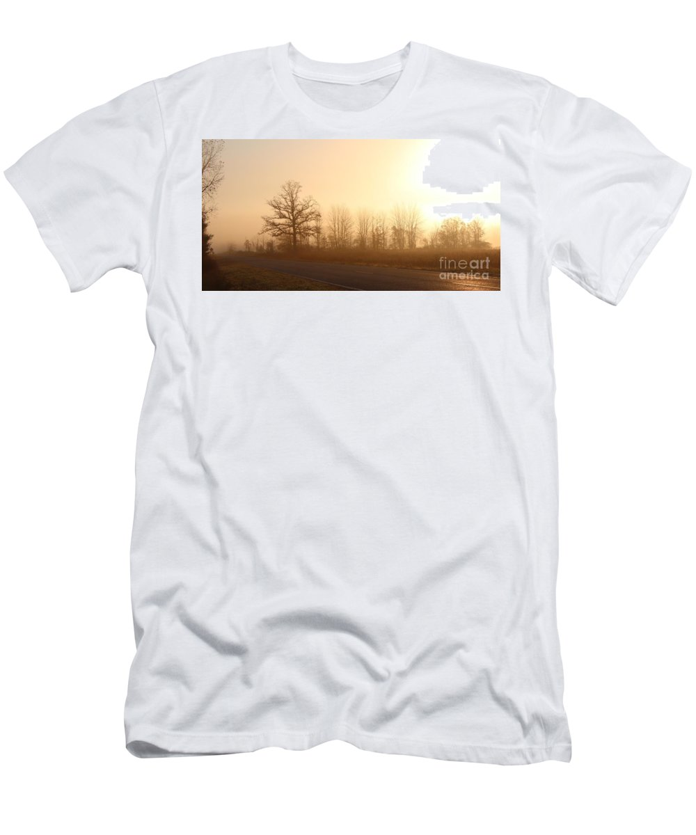Fog Men's T-Shirt (Athletic Fit) featuring the photograph Road To Nowhere by Stephanie Kripa