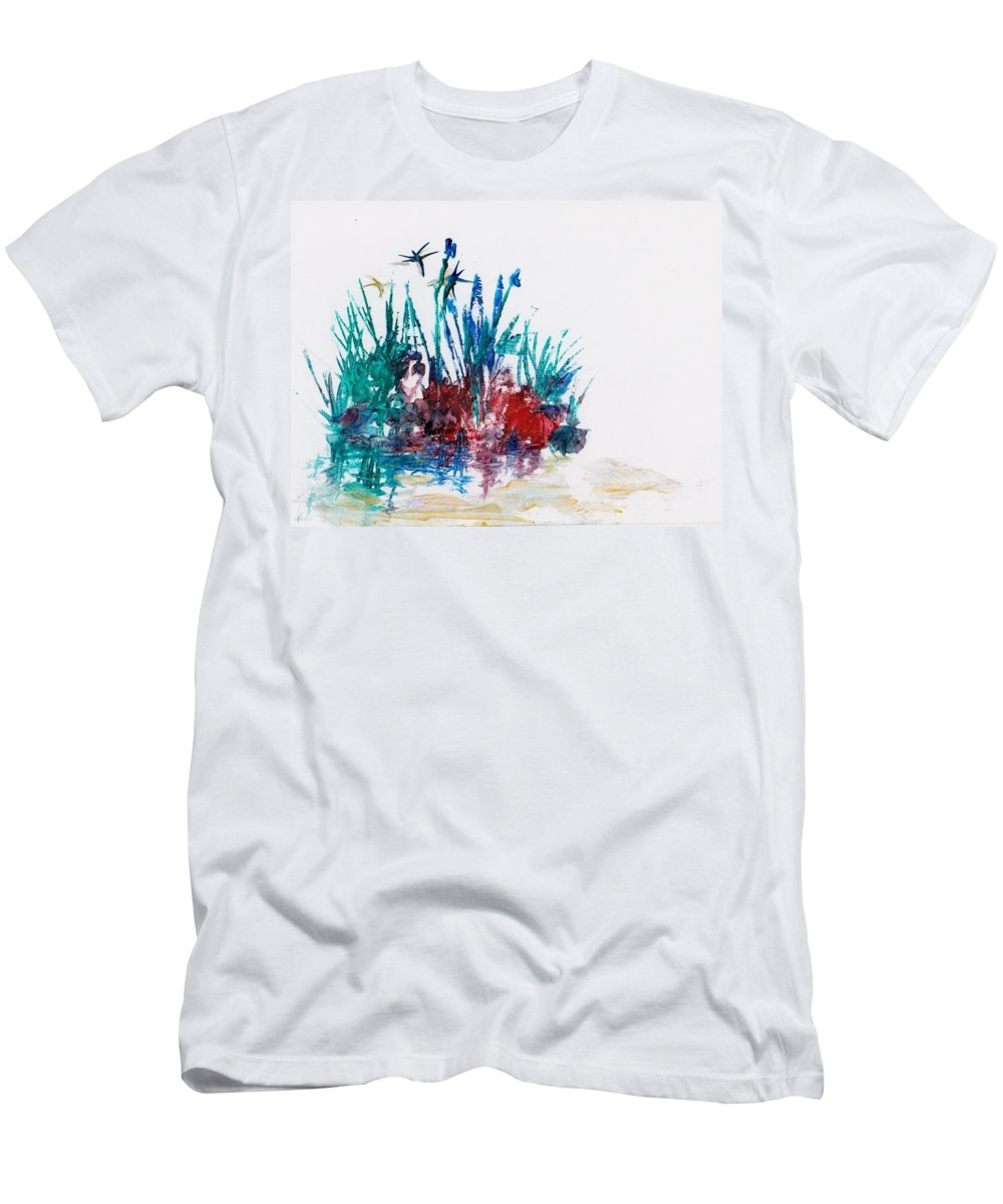 Rocks Men's T-Shirt (Athletic Fit) featuring the painting Rockpool by Angelina Whittaker Cook