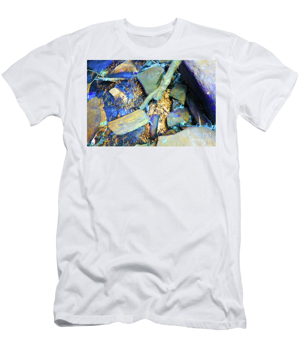 Waterfall Men's T-Shirt (Athletic Fit) featuring the photograph Rocks Of Gold by Jost Houk