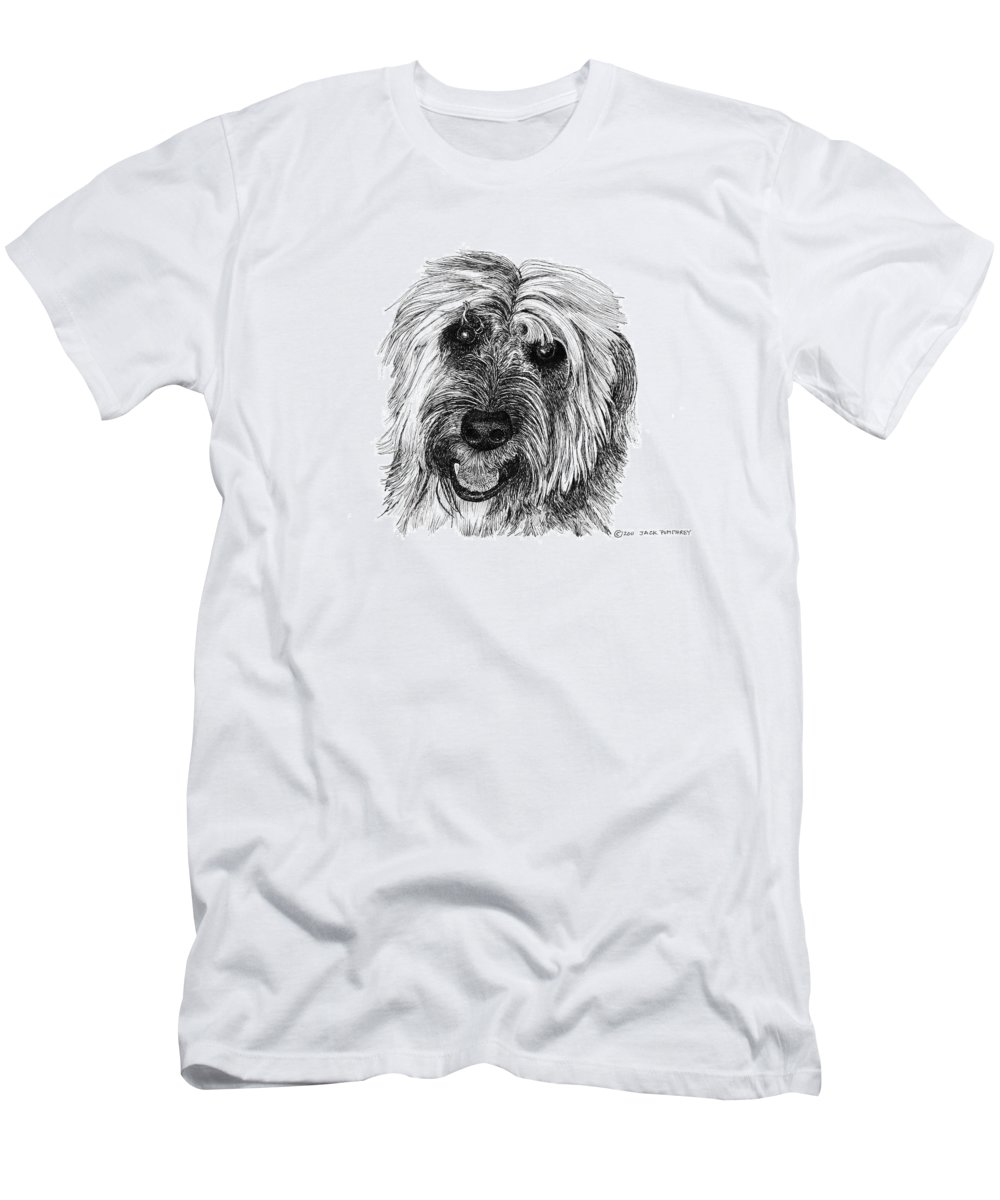 Pen And Ink Art Of Rocky Whose Owner Men's T-Shirt (Athletic Fit) featuring the drawing Rocky by Jack Pumphrey