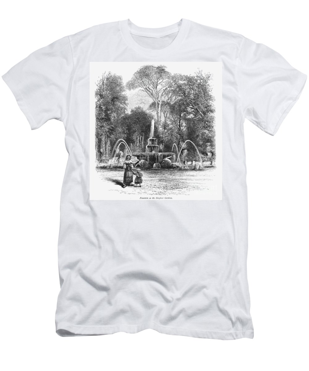 19th Century Men's T-Shirt (Athletic Fit) featuring the photograph Rome: Borghese Gardens by Granger