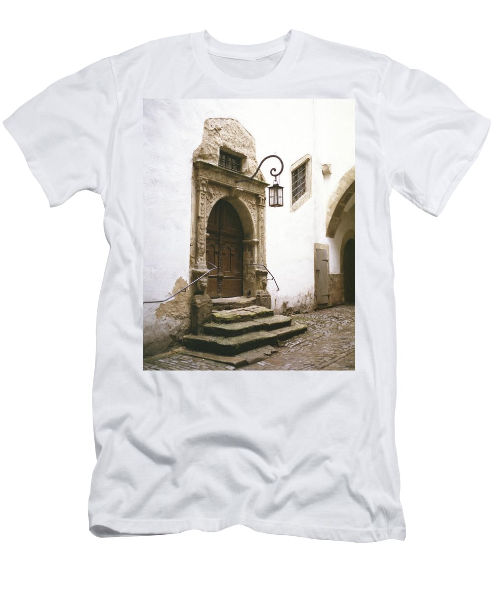 Door Men's T-Shirt (Athletic Fit) featuring the photograph Rothenburg Rathaus Door by John Bowers