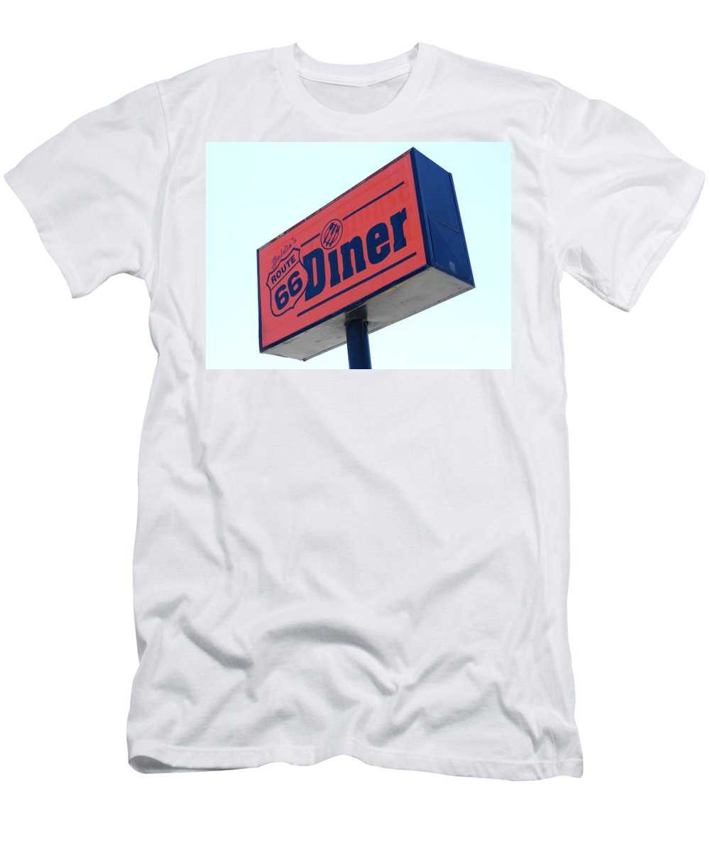 Wurlitzer Men's T-Shirt (Athletic Fit) featuring the photograph Route 66 Diner Sign by Bob Christopher
