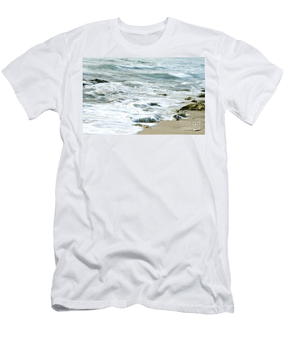 Sea Men's T-Shirt (Athletic Fit) featuring the photograph Rushing In by Charuhas Images