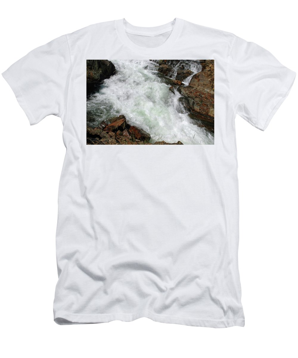 Usa Men's T-Shirt (Athletic Fit) featuring the photograph Rushing Waters Glen Alpine Creek by LeeAnn McLaneGoetz McLaneGoetzStudioLLCcom