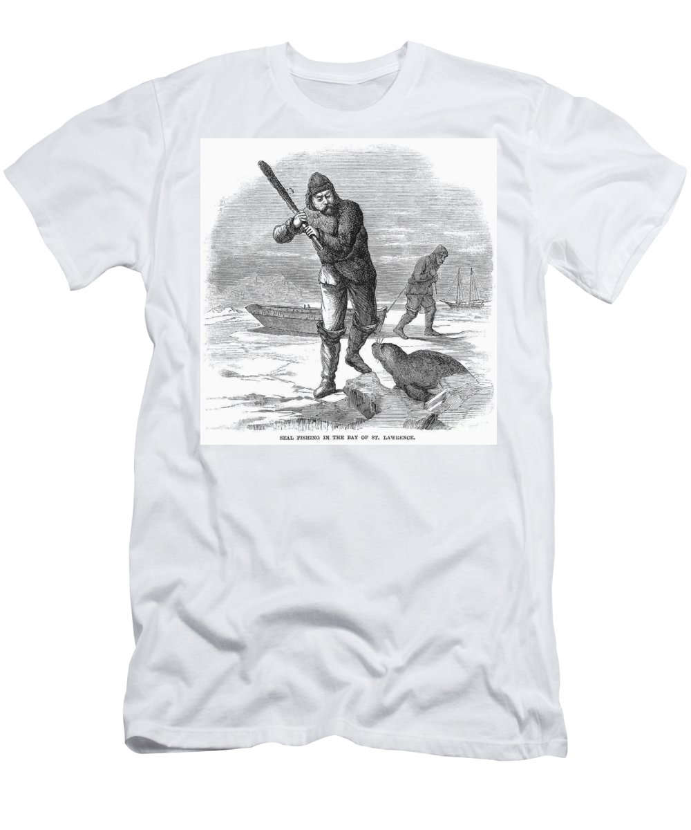 1867 Men's T-Shirt (Athletic Fit) featuring the photograph Seal Hunting, 1867 by Granger
