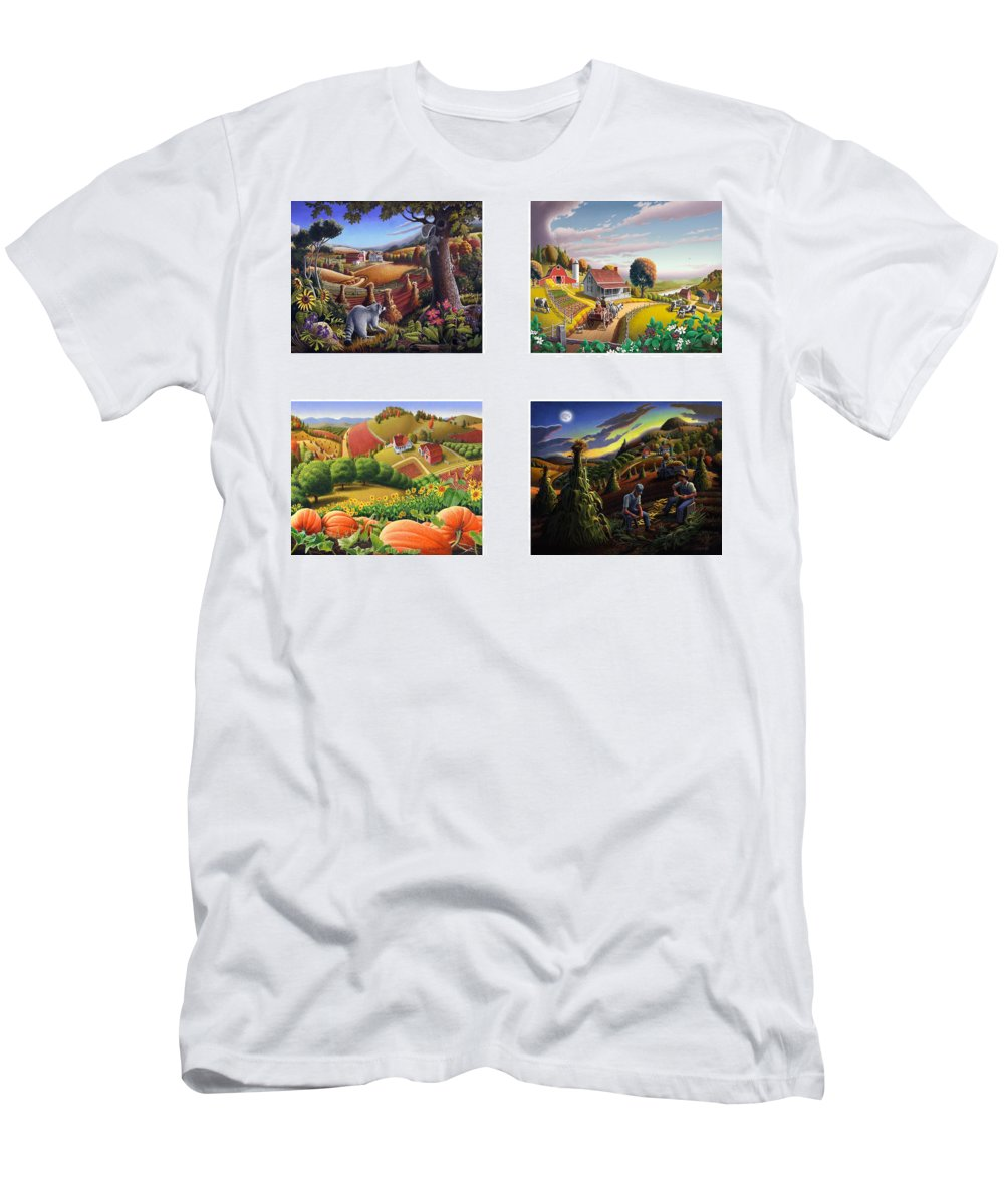 Folk Art Men's T-Shirt (Athletic Fit) featuring the painting seasonal farm country folk art-set of 4 farms prints amricana American Americana print series by Walt Curlee