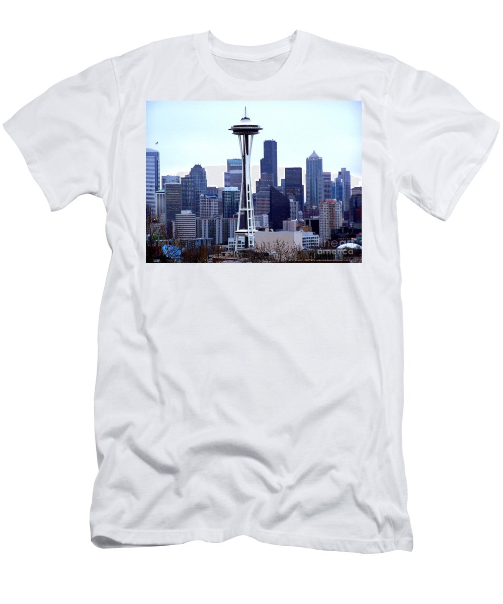 Seattle Men's T-Shirt (Athletic Fit) featuring the photograph Seattle Skyline by Kathy White