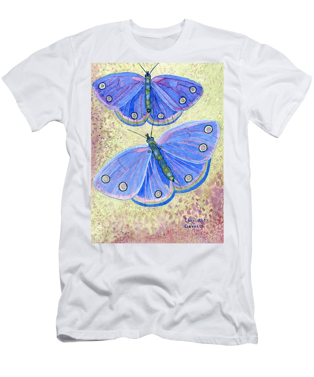 Butterfly Art Men's T-Shirt (Athletic Fit) featuring the painting Self Expression Butterfly by Charlotte Garrett