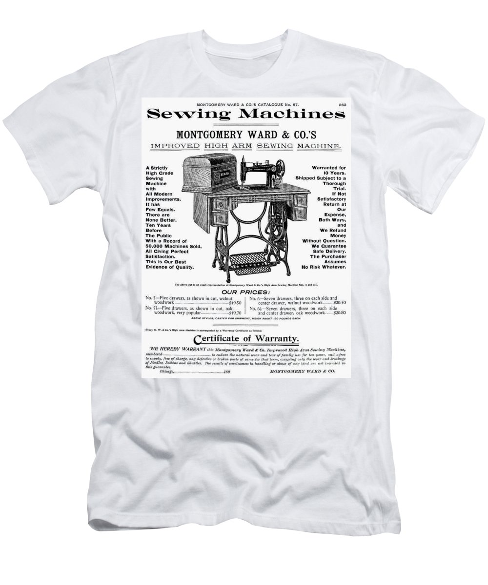 1895 Men's T-Shirt (Athletic Fit) featuring the photograph Sewing Machine Ad, 1895 by Granger