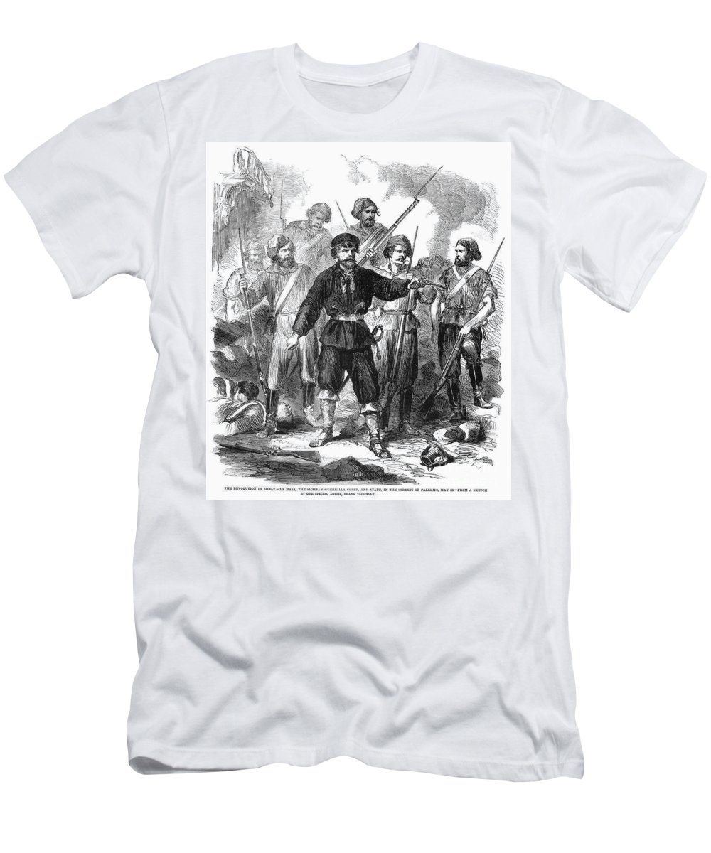1860 Men's T-Shirt (Athletic Fit) featuring the photograph Sicily: Guerrillas, 1860 by Granger