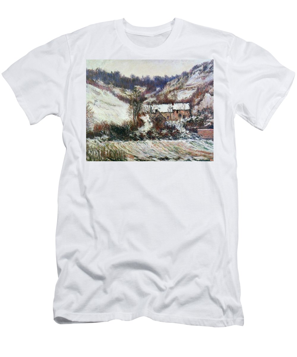 Snow Near Falaise Men's T-Shirt (Athletic Fit) featuring the painting Snow Near Falaise by Claude Monet