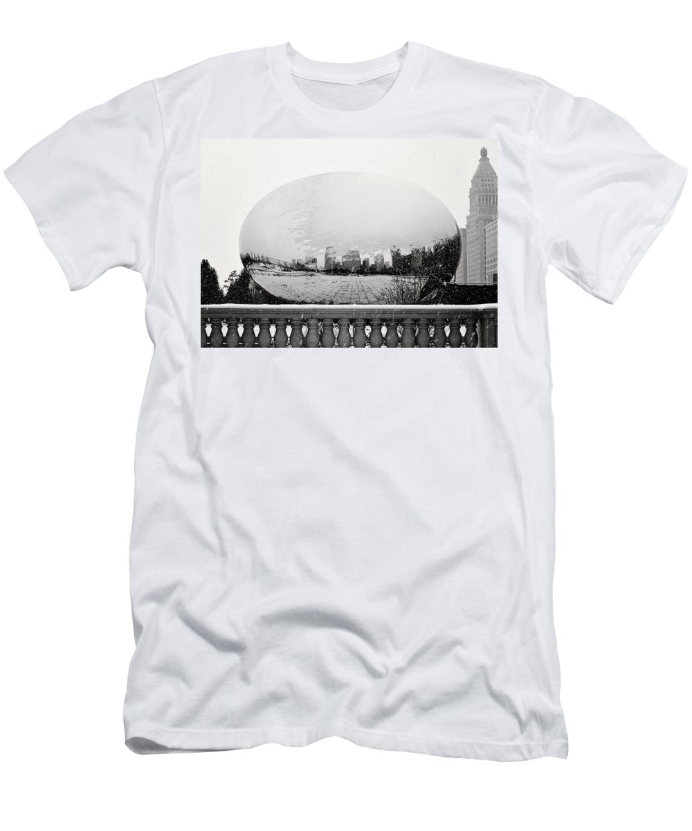 Snowy Men's T-Shirt (Athletic Fit) featuring the photograph Snowy Cloud Gate by Laura Kinker