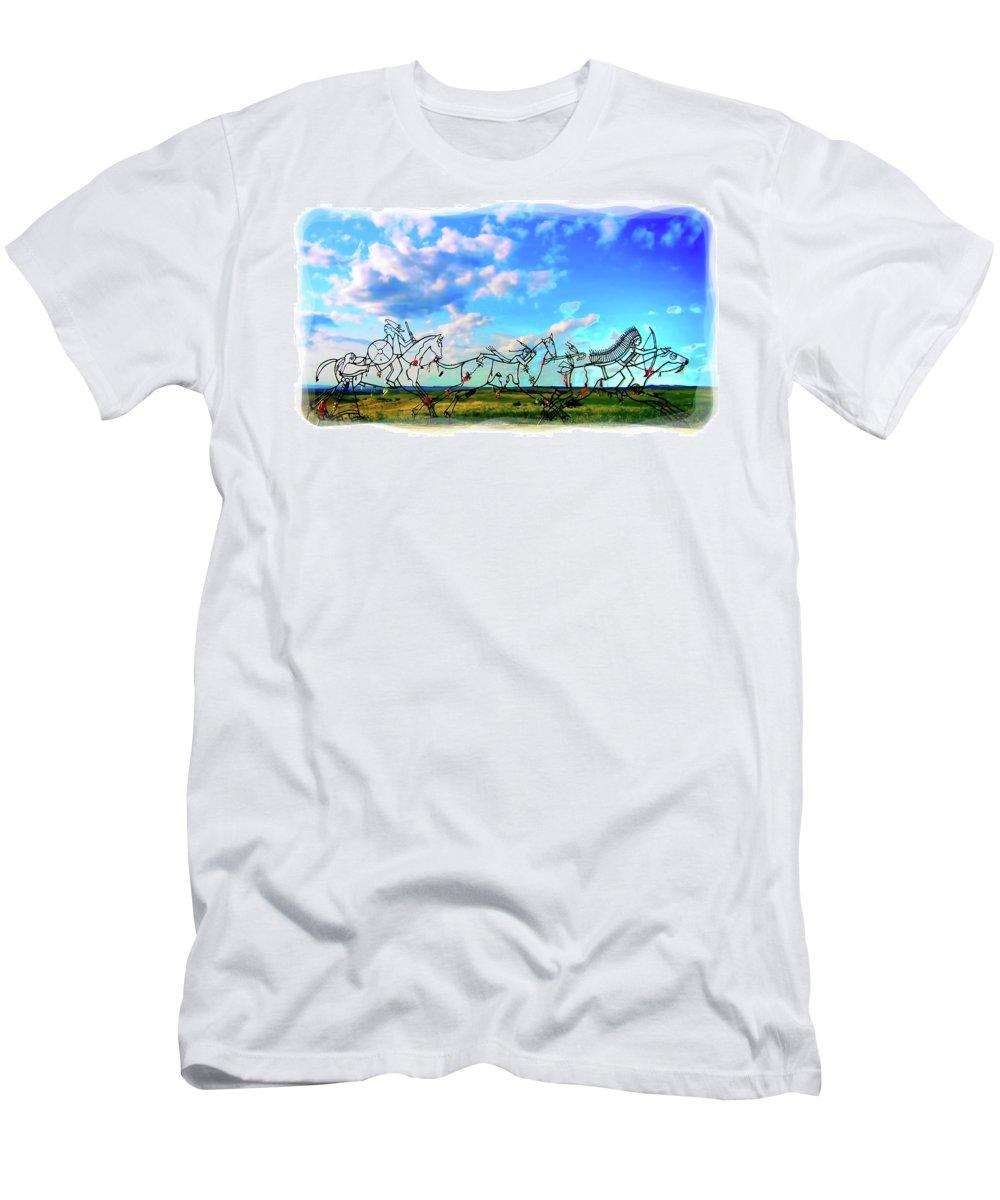 Little Bighorn Indian Memorial Men's T-Shirt (Athletic Fit) featuring the digital art Spirit Warriors - Little Bighorn Battlefield Indian Memorial by Gary Baird