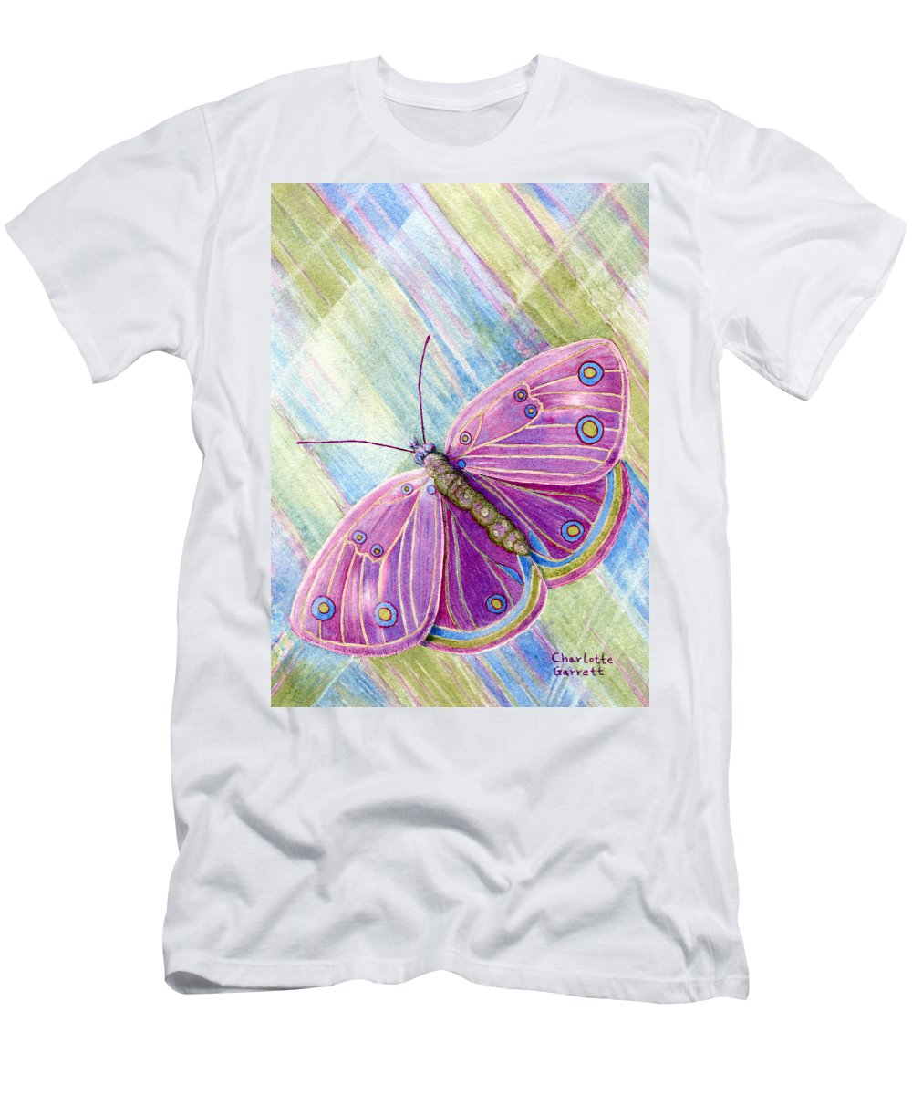 Butterfly Art Men's T-Shirt (Athletic Fit) featuring the painting Spiritual Butterfly by Charlotte Garrett