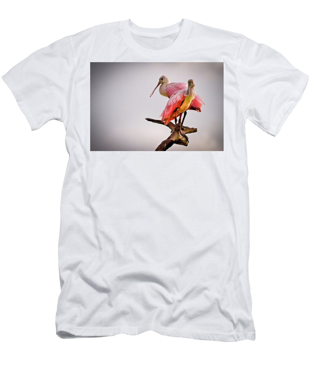 African Men's T-Shirt (Athletic Fit) featuring the photograph Spoonbills by Debra and Dave Vanderlaan
