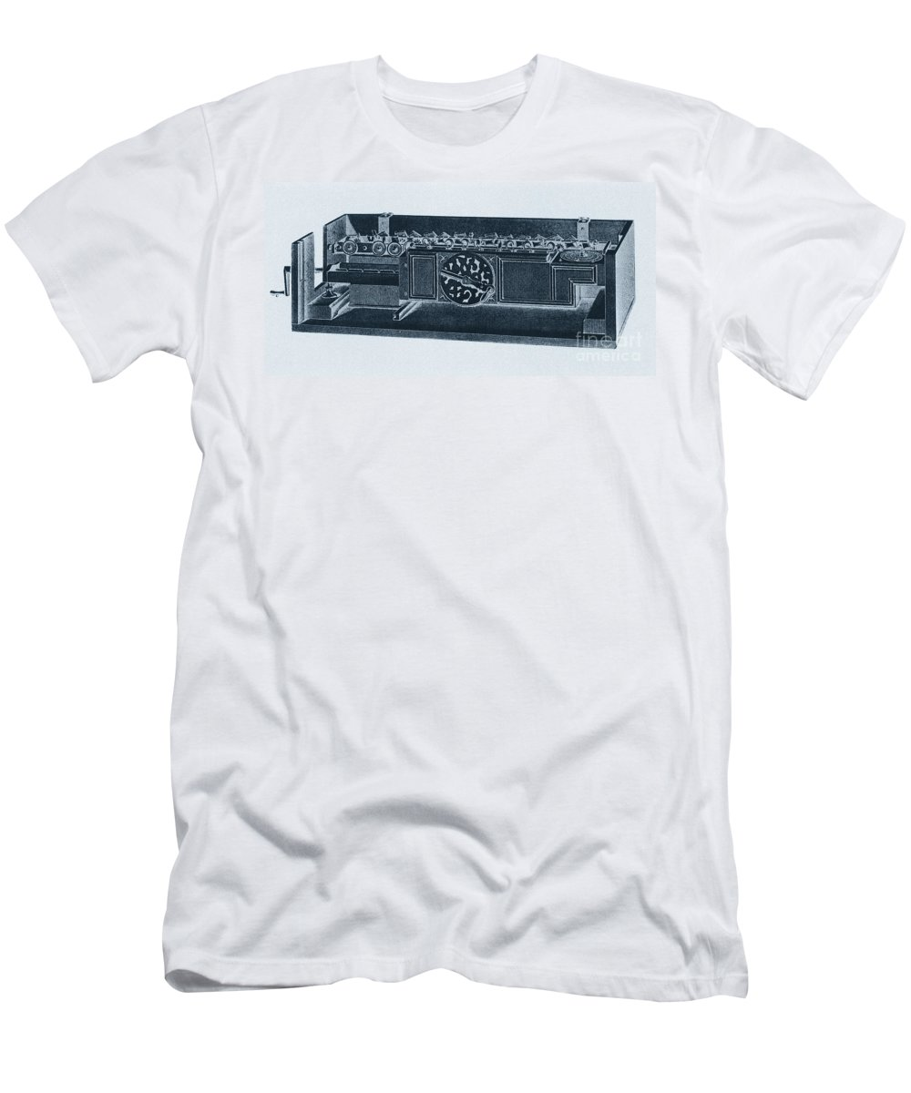Science Men's T-Shirt (Athletic Fit) featuring the photograph Step Reckoner, Leibniz Mechanical by Science Source