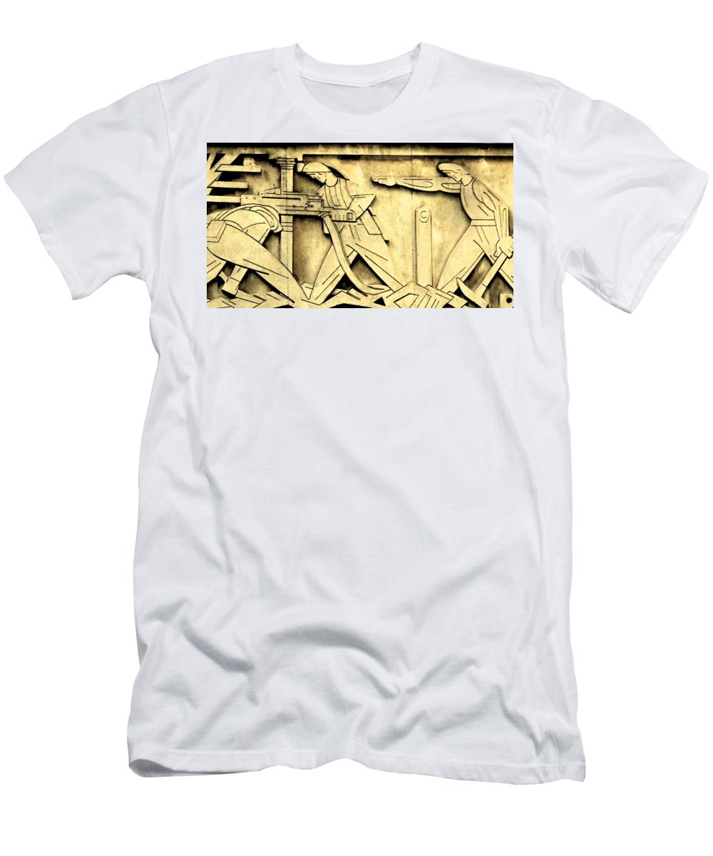 Toronto Stock Exchange Men's T-Shirt (Athletic Fit) featuring the photograph Stock Exchange Miners by Ian MacDonald