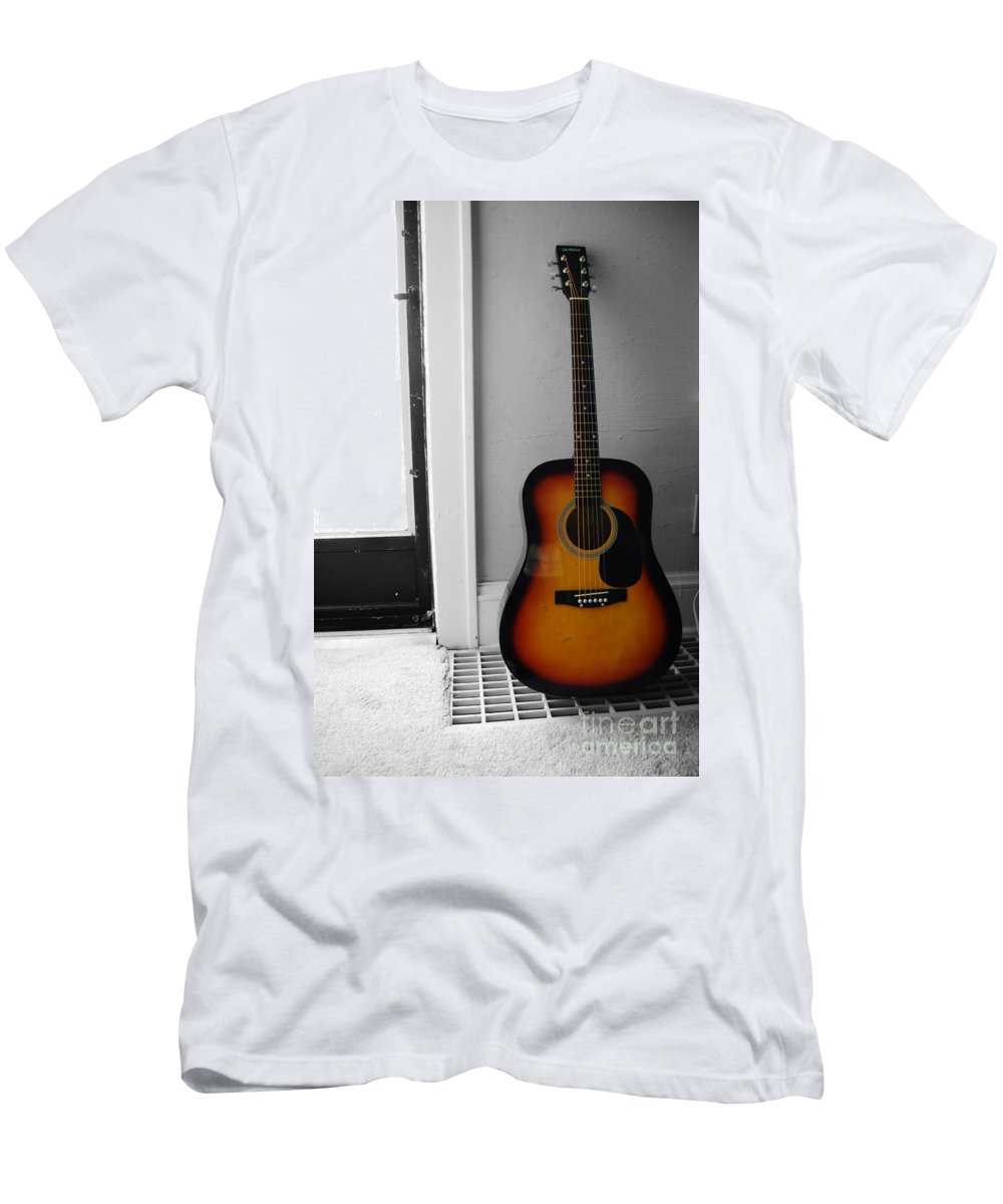 Guitar Men's T-Shirt (Athletic Fit) featuring the photograph Strings Of Color by Trish Hale