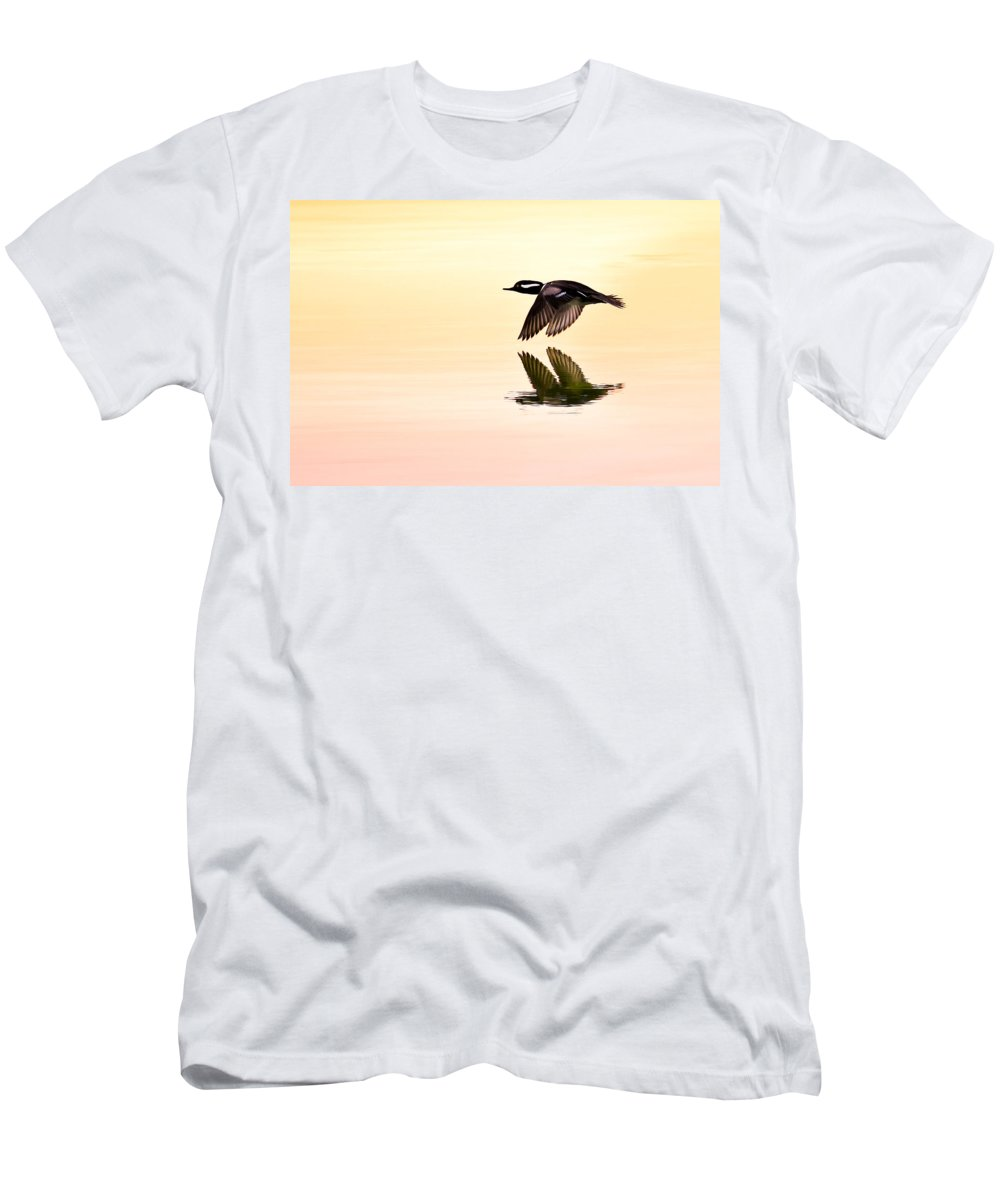 Hooded Merganser Men's T-Shirt (Athletic Fit) featuring the photograph Sunrise Flight by Janet Fikar