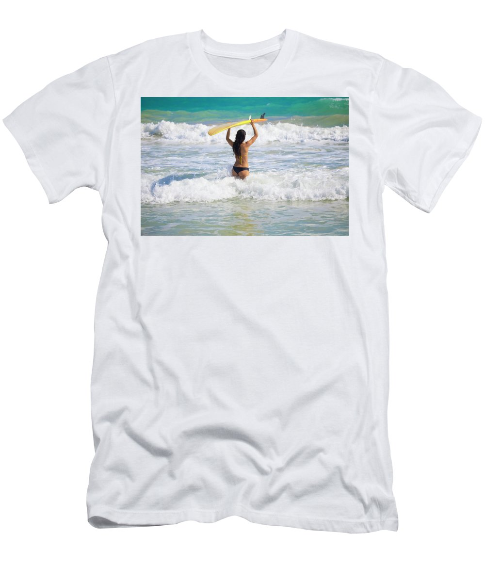 Adventure Men's T-Shirt (Athletic Fit) featuring the photograph Surfer Girl by Tomas Del Amo - Printscapes