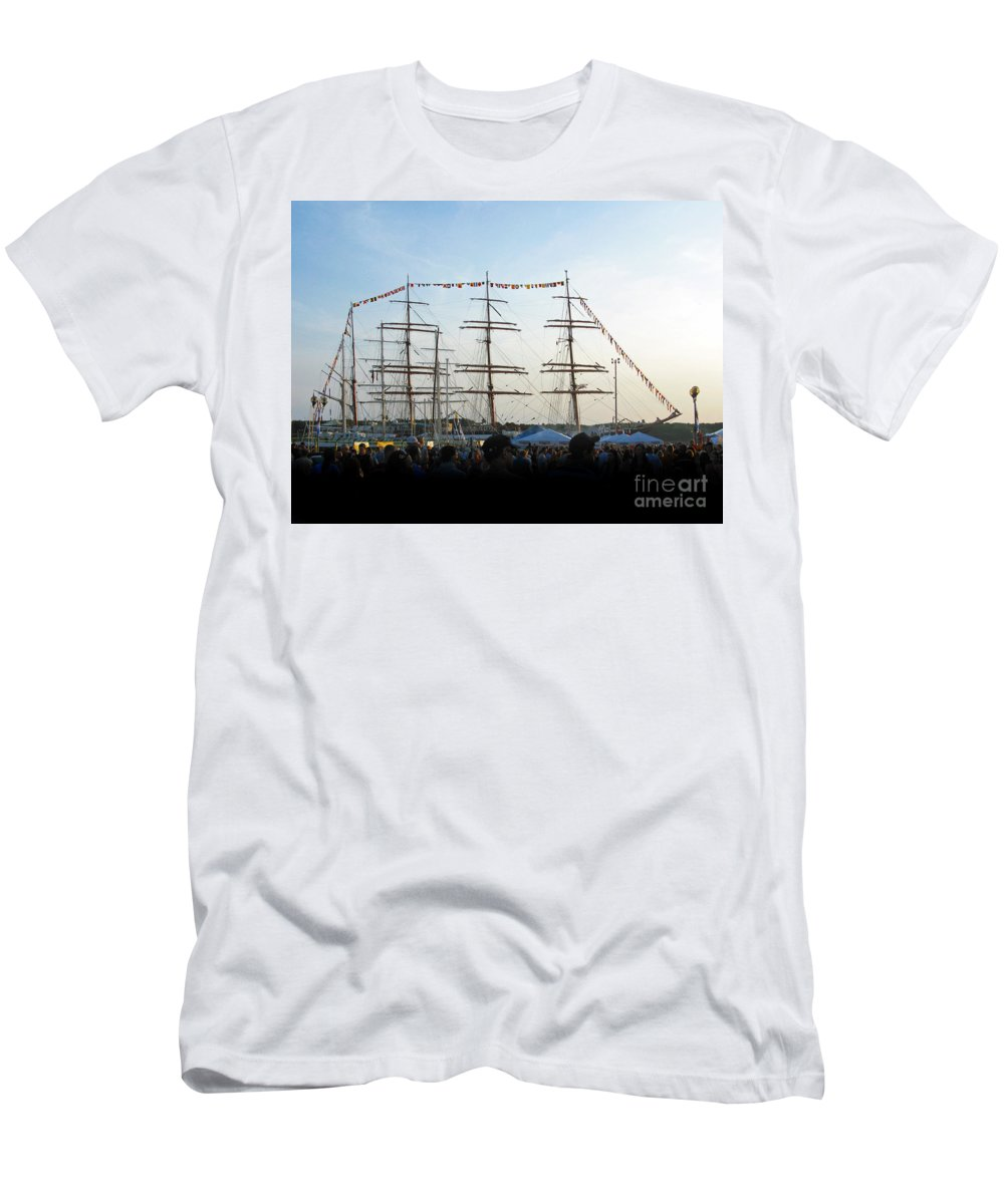 Tall Ships 2009 Men's T-Shirt (Athletic Fit) featuring the photograph Tall Ships 2009. Klaipeda. Lithuania by Ausra Huntington nee Paulauskaite