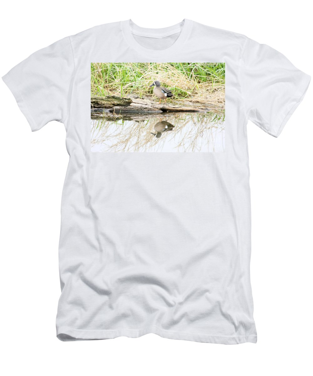 Ducks Men's T-Shirt (Athletic Fit) featuring the photograph Teal Duck Standing On A Log by Lori Tordsen