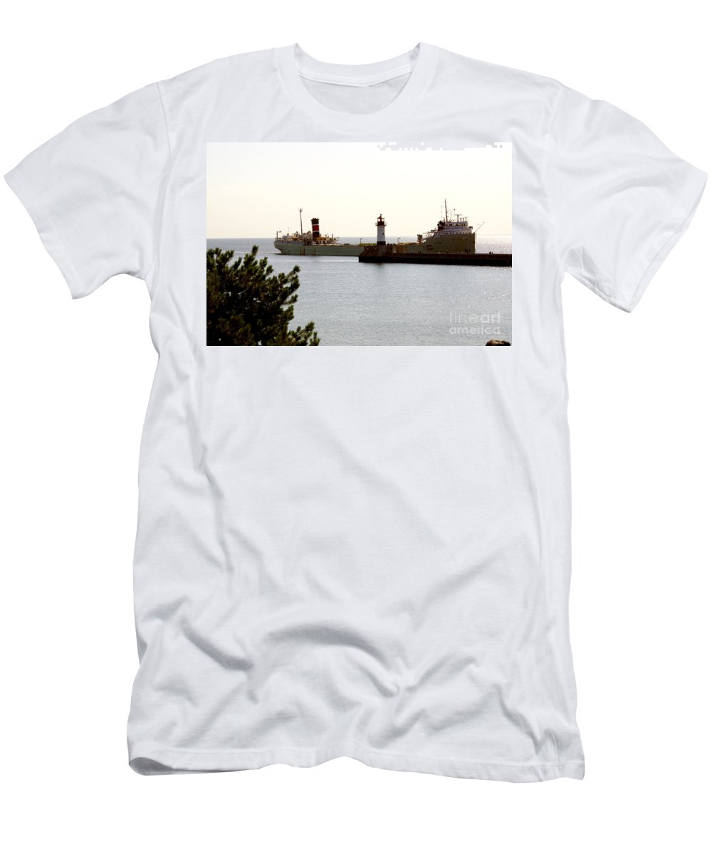 Ship Men's T-Shirt (Athletic Fit) featuring the photograph The Alpena Ship by Lori Tordsen