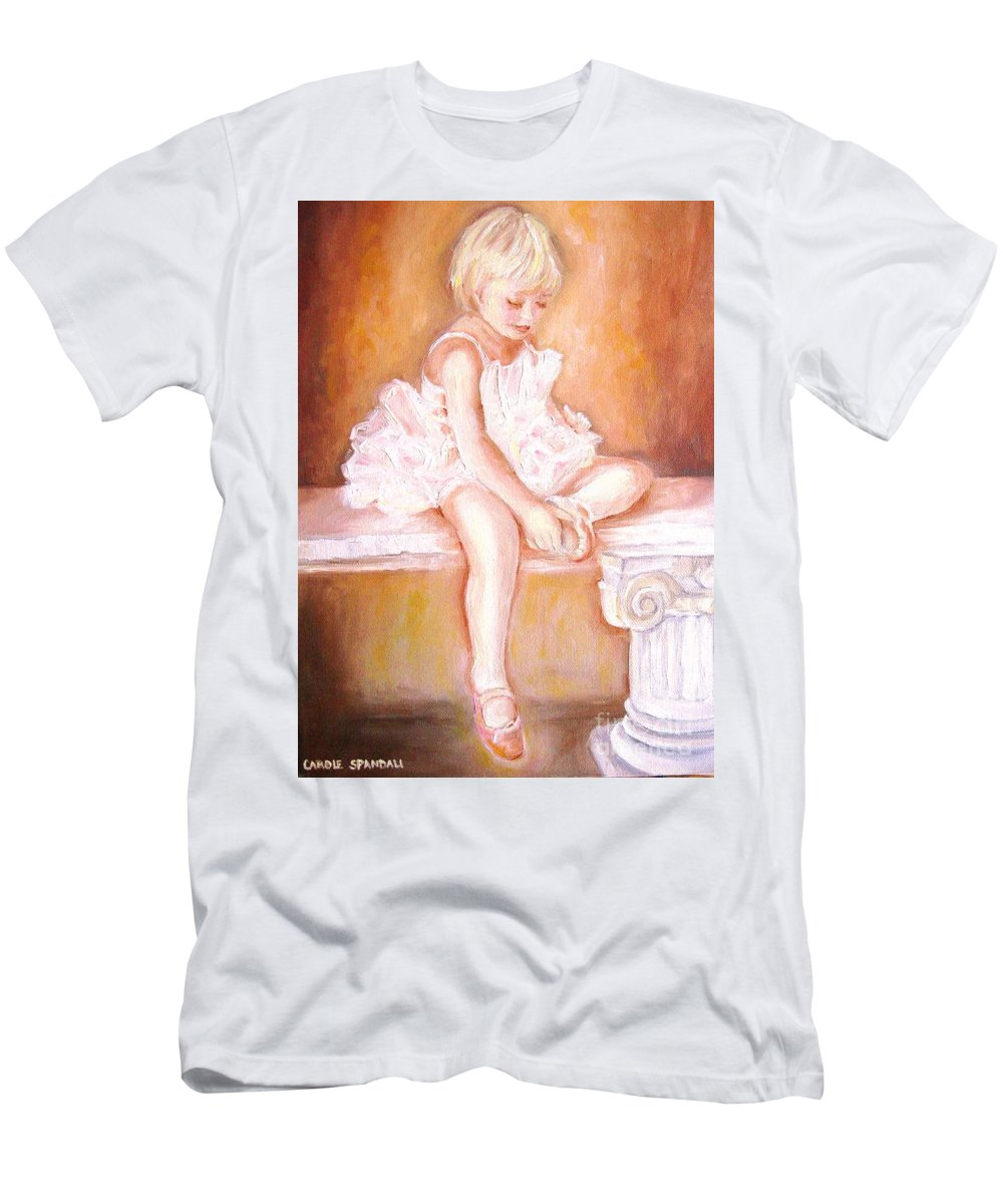 Ballerinas Men's T-Shirt (Athletic Fit) featuring the painting The Little Ballerina by Carole Spandau
