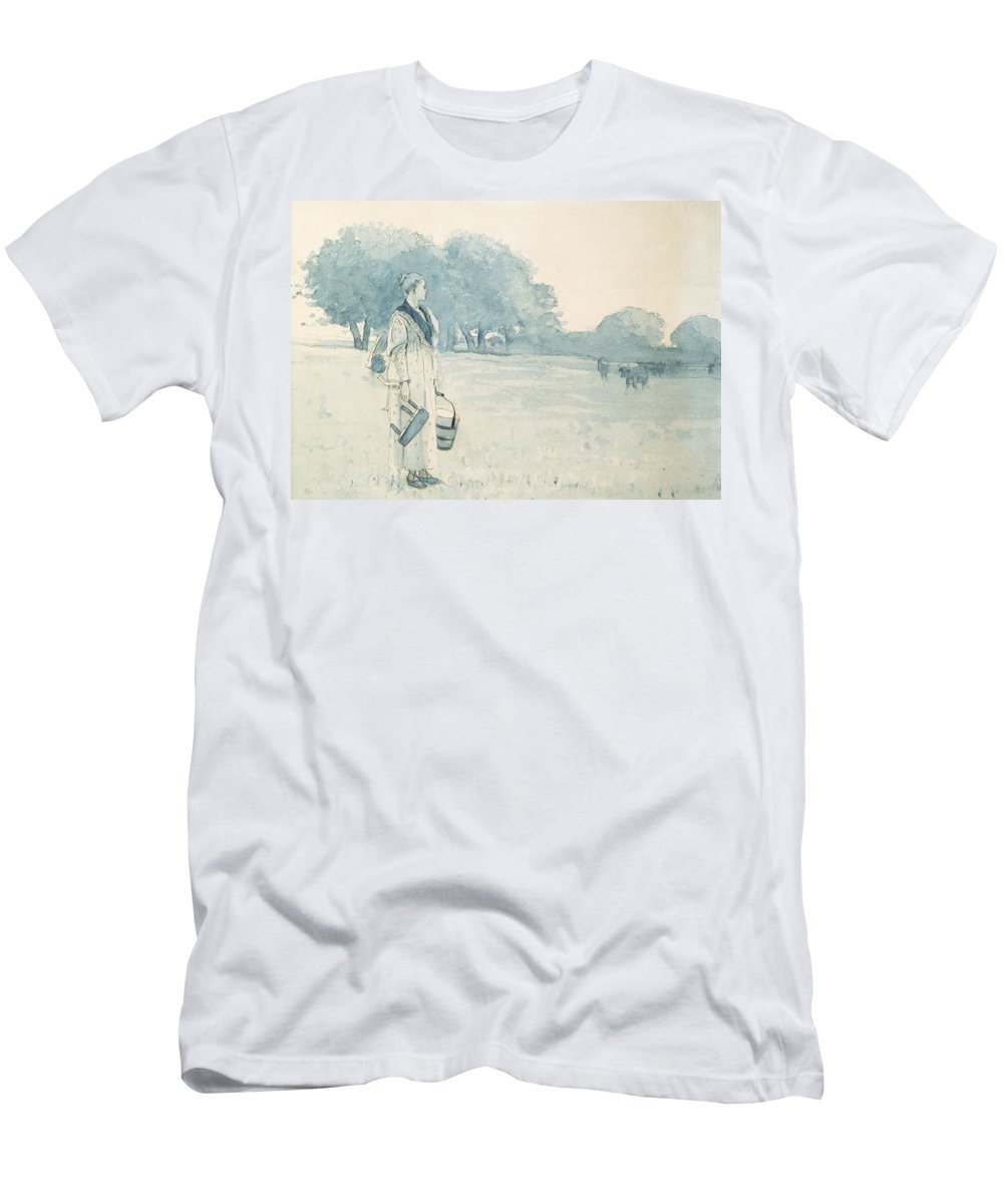 The Milkmaid Men's T-Shirt (Athletic Fit) featuring the painting The Milkmaid by Winslow Homer