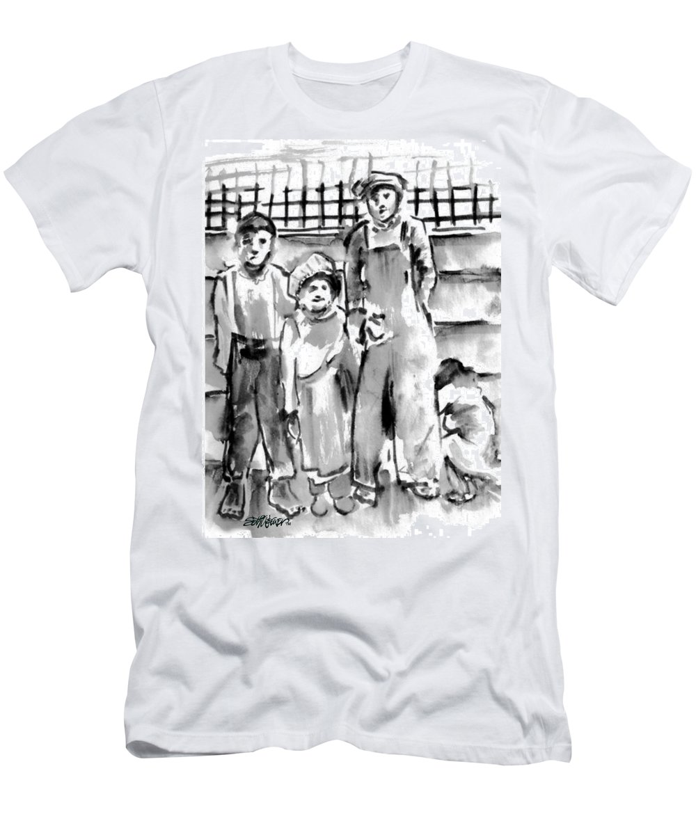 The Orphans T-Shirt featuring the drawing The Orphans by Seth Weaver