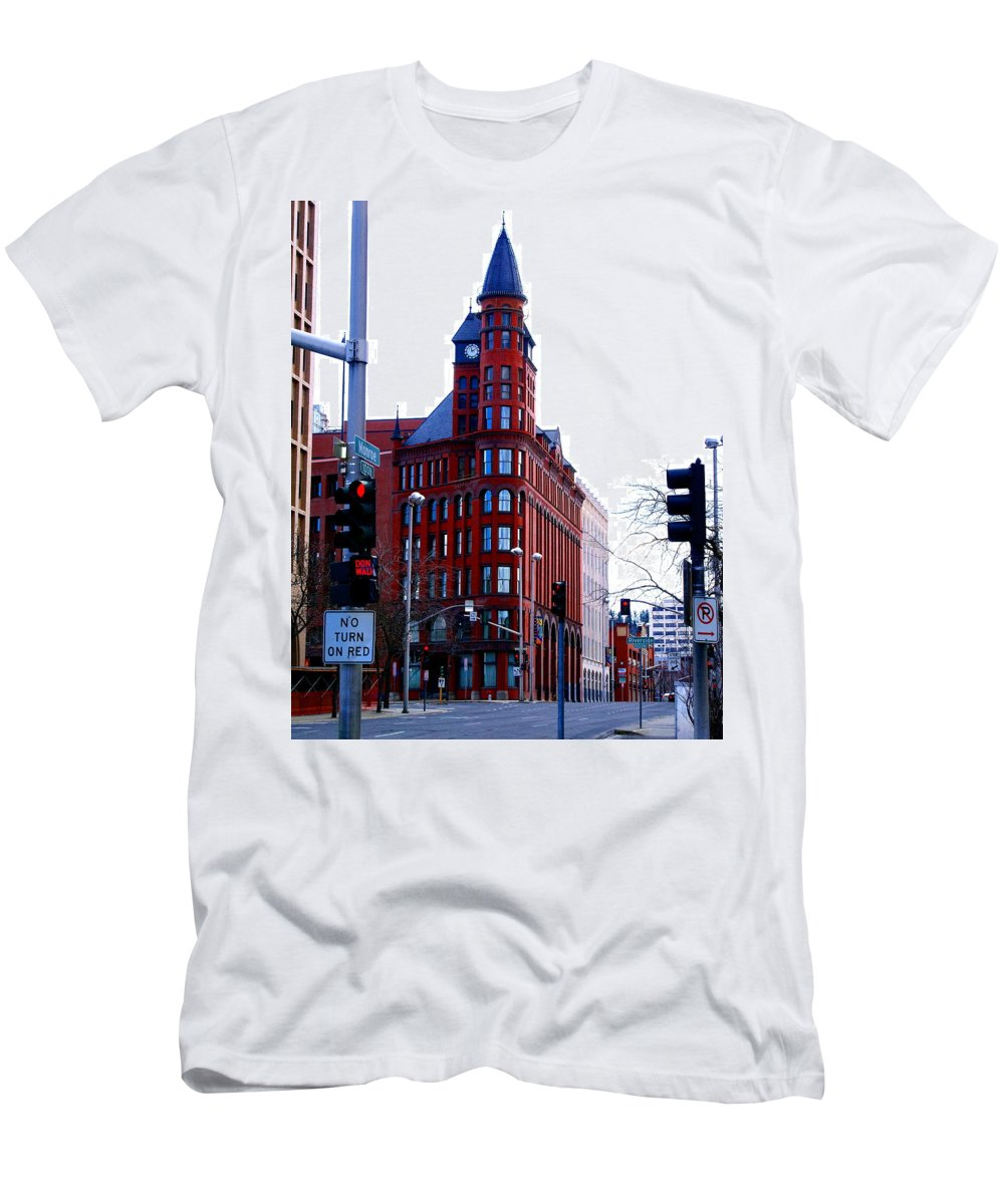 Spokane Men's T-Shirt (Athletic Fit) featuring the photograph The Review Building by Ben Upham III
