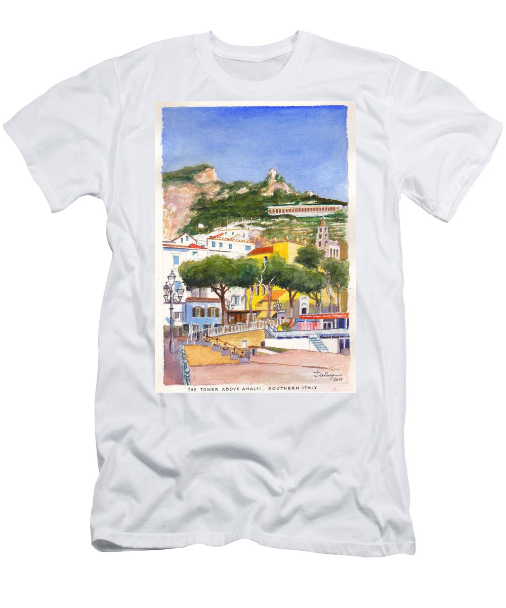 Beach Men's T-Shirt (Athletic Fit) featuring the painting The Ruined Tower Above The Beach At Amalfi On The Southern Italian Coast by Dai Wynn