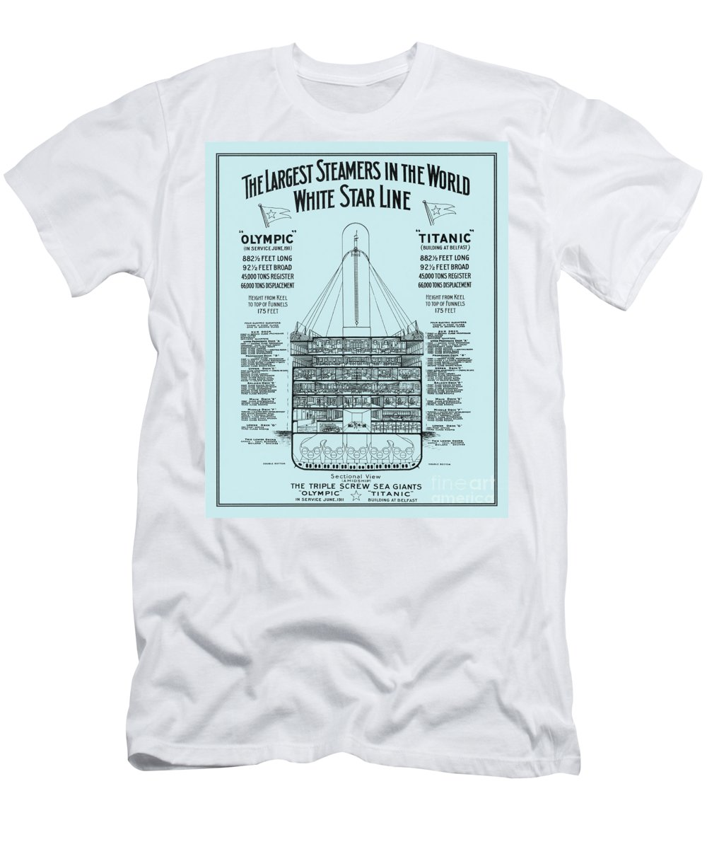 History Men's T-Shirt (Athletic Fit) featuring the photograph The Titanic by Photo Researchers